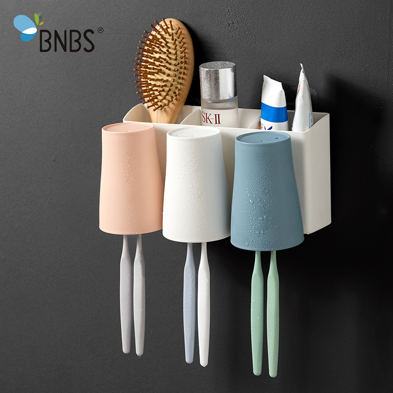 BNBS Bathroom Accessories Toothbrush Toothpaste Holder With Mouthwash Cup Wall Mounted Razor Tooth Paste Rack Organizer Stand image