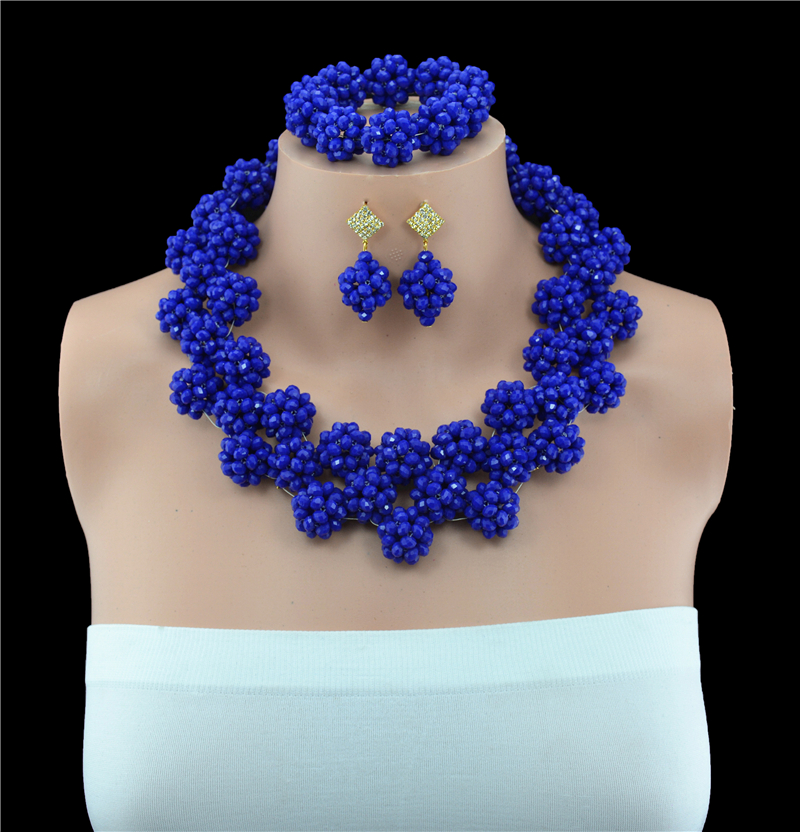 2016 Fashion Nigerian African Wedding Beads Jewelry Set Turquise Blue Crystal Necklace Bracelet Earrings fashion white crystal beads necklace earrings bracelet nigerian wedding beads african jewelry set for women ddk014
