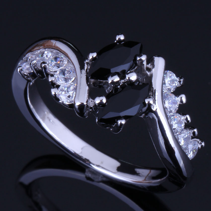 Good-Looking Black Cubic Zirconia White CZ 925 Sterling Silver Ring For Women V0406