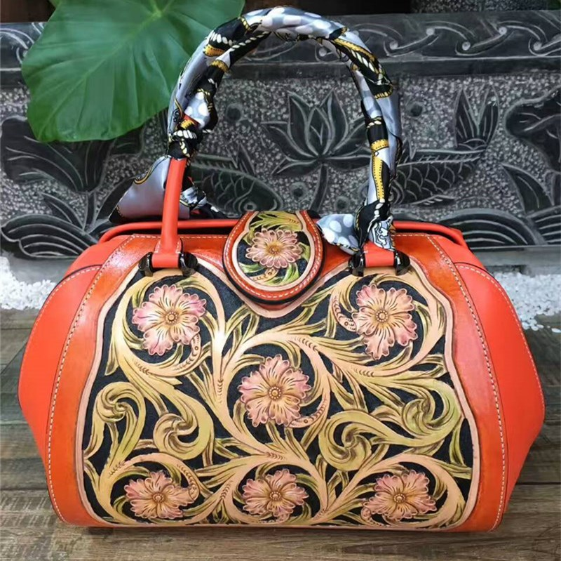 High Quality Women Genuine Leather Bags Luxury Handmade Vintage Flower Designer Woman Handbags