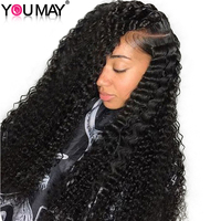 Pre Plucked Full Lace Human Hair Wigs Bleached Knots With Baby Hair 180% Density Brazilian Curly Wig Remy Hair You May