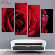 ALMUDENA Fashion Home Decoration 4 Pieces Red Rose Canvas Painting with No Frame for Home Decoration Living Room Wall Artwork
