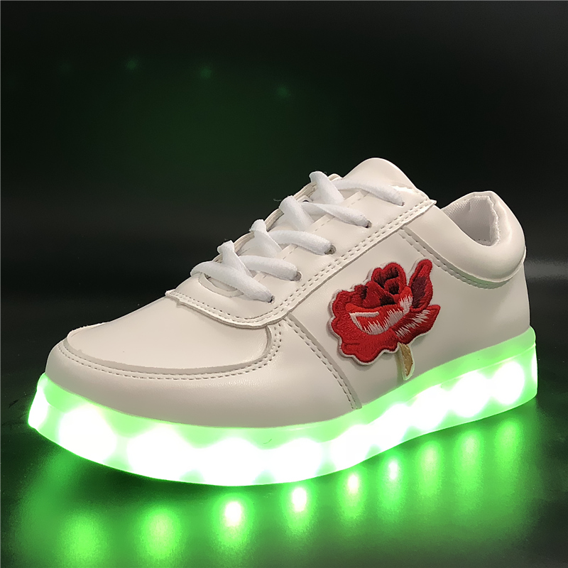 7ipupas EUR 30-44 Rose Casual Luminous Sneaker Lighted shoe for Boy&Girl glowing sneaker Kid USB Charger Light Up shoe slippers