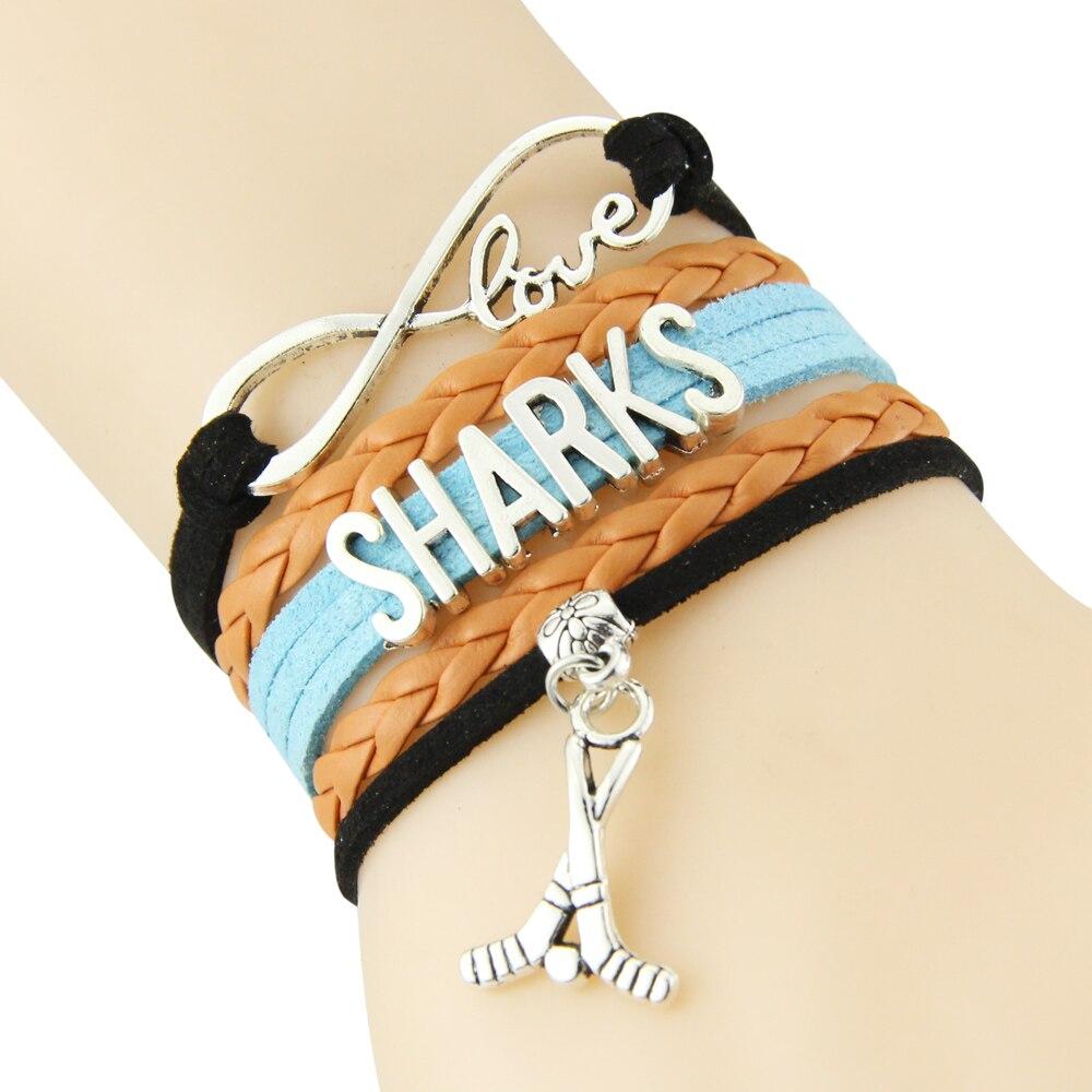 Chain Bracelet Infinite Love SHARKS Black Orange Blue Cord Golf Dropshipping