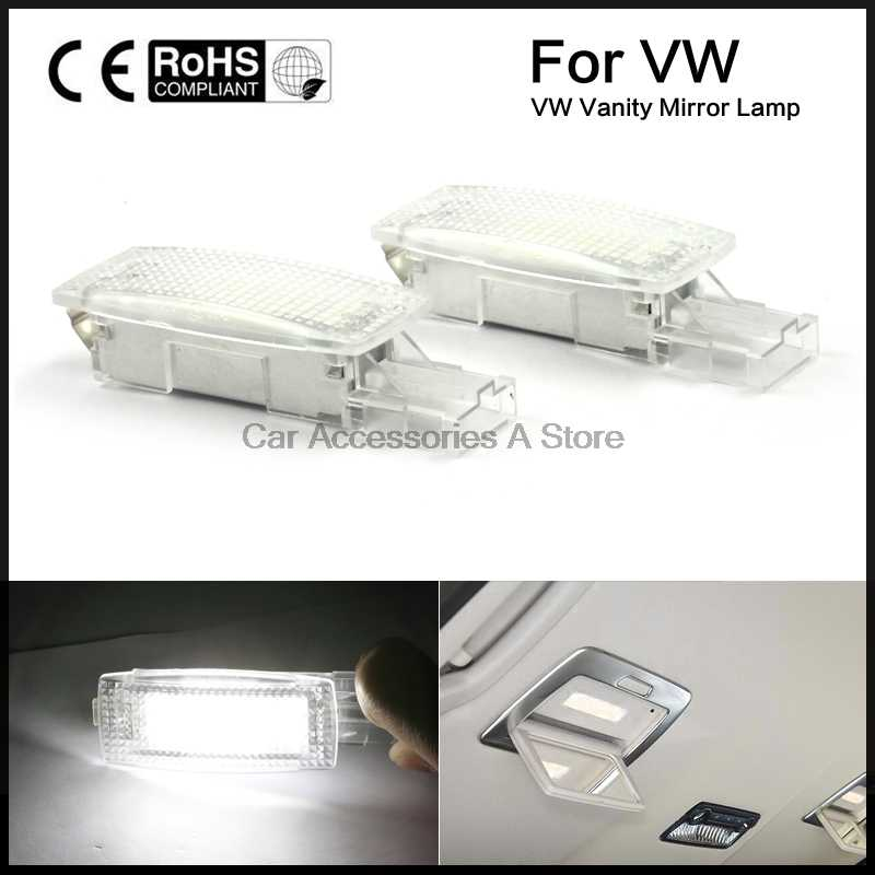 2x LED SMD vanity mirror visor light fit For VW Golf PASSAT TIGUAN JETTA SCIROCCO Canbus