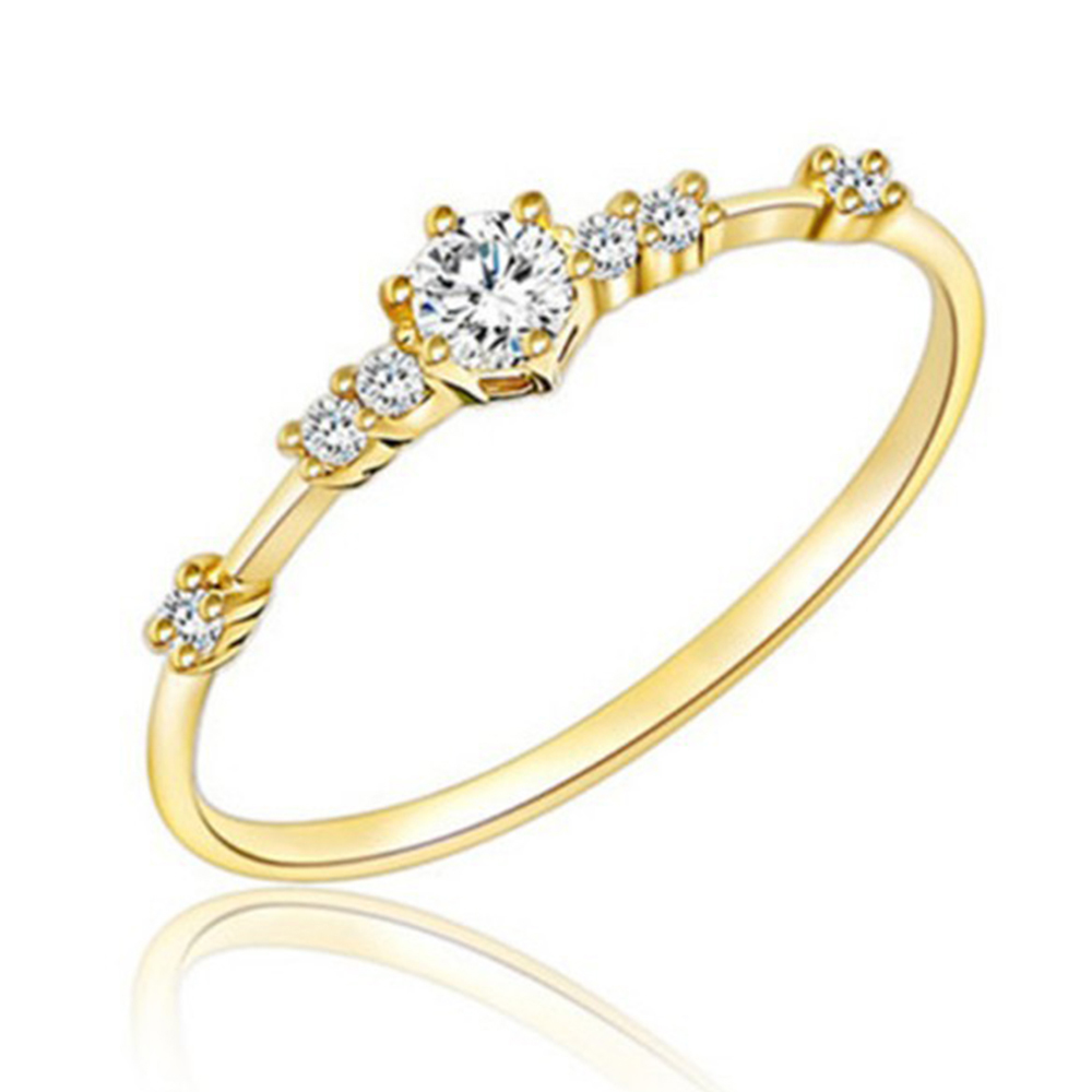 White Crystal Stainless Steel Women/'s Rhinestone Silver//Gold//Rose Ring Size 7//8