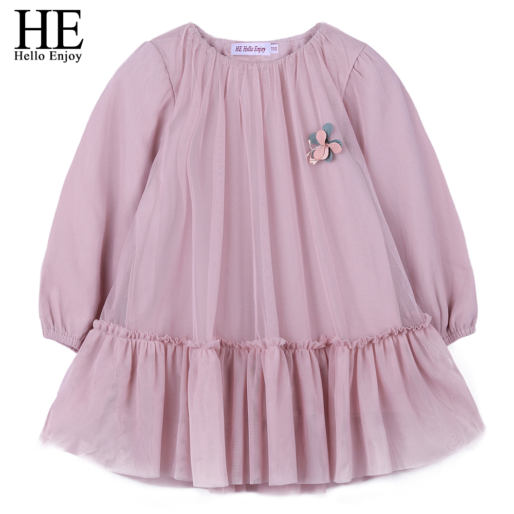 HE Hello Enjoy Children Princess Clothing Girls Spring Long Sleeve Chiffon Formal Party Dresses Belle Kids Clothes costume 2018 he hello enjoy girls clothes dress spring autumn kids dresses for girls long sleeve denim shirt bow suits children clothing set