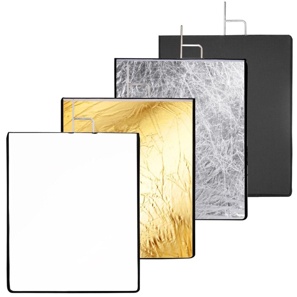 Neewer 30x36 pouces 4-en-1 métal drapeau panneau Set réflecteur avec doux blanc, noir, argent et or couverture tissu pour la photographie