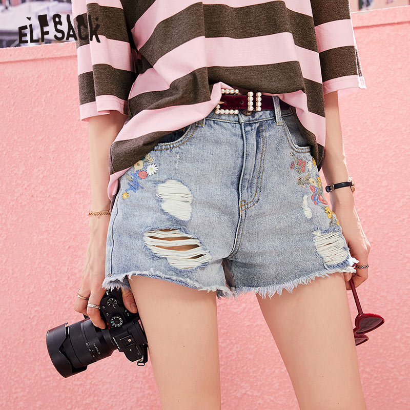 ELF SACK Cotton Casual Denim Women Shorts Fashion Floral Embroidery Hole Female Shorts Mid Waist Straight