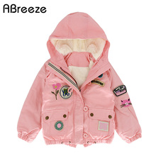 New winter spring children jakcets european and American style kids down & parkas for girls warm 1 8Y hooded coats baby girls