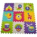 Decoração interior Mat Padrão Animal Puzzle Mat Puzzle de Espuma Eva Material Esteira do jogo Para O Uso Infantil Kid Jigsaw Piso Quarto Mat 9 pcs/set
