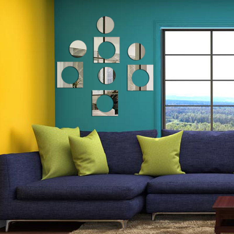 moderno minimalista cuadrado espejo de pared pegatinas pared del dormitorio sala de pegatinas de decoracin del hogar saln auto
