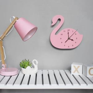 Nordic Cute Swan crown shape Wall Clock Monochrome for Children kids room decoration Figurines gift Photography props 1piece(China)