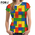 FORUDESIGNS Puzzle Box Womens T-shirts Tops Female Brands Clothes Tee Shirt Mixed Color Design Summer Short Sleeve T Shirt Women