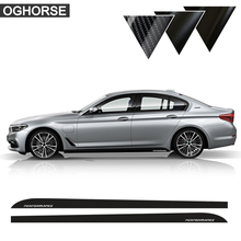 Glossy Black 5D Carbon Fibre 2017 New M Performance Side Skirt Stripe Sticker Body Decal For BMW 5 Series G30 Matte Black 2pieces skirt sill side skirt decals stickers for bmw x5 f15 f85 2014 2016 racing stripe m performance sticker 5d carbon fibre