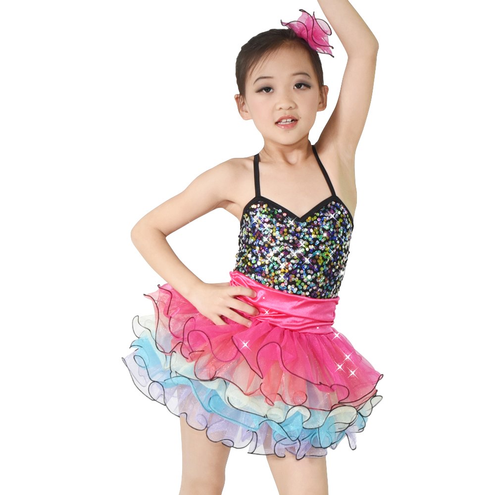 MiDee Rainbow Tutus Ballet Tutu Dance Dress for Girls Solo Stage Performance Състезание по танци Костюми за рокли