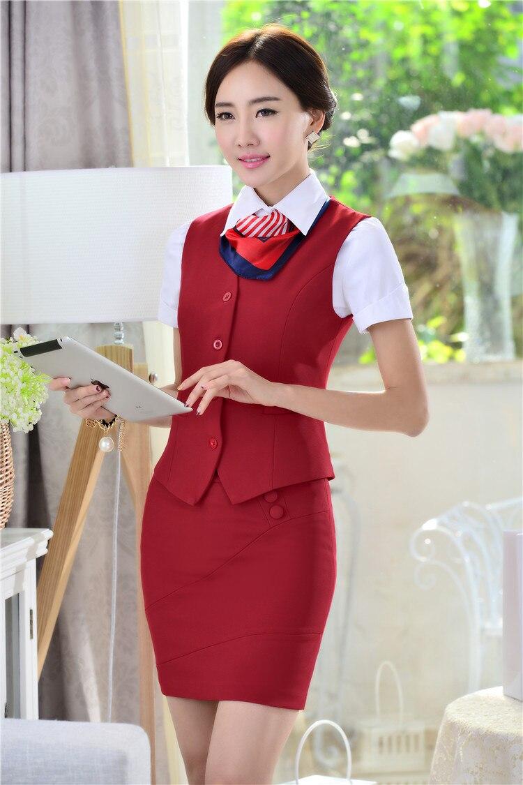 Весна Лето Новинка тонкие модные деловые женские костюмы жилет+ юбка форма дизайн Дамская Офисная Рабочая одежда юбки костюмы - Цвет: Red