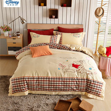 disney winnie the pooh comforter bedding set kids 100% egyptain cotton bed sets embroidered queen size home textile 4/5pc girls