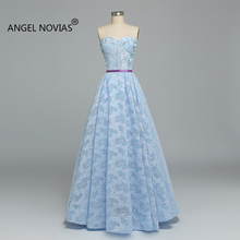 Angel Novias Long Sky Blue Evening Dress 2019 Party Dress