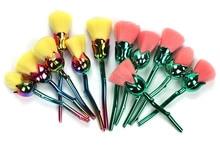 6pcs/set Rose Shape  Makeup Brushes  Foundation Powder Make Up flower Brushes Set Beauty Blush Brush cosmetic tool