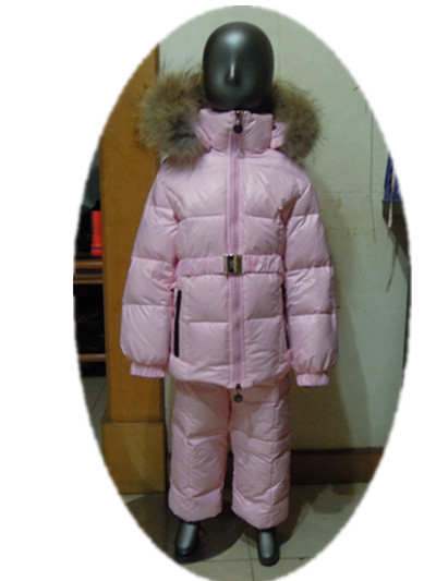 Winter children's clothing girl down coat twinset girl snow wear down jacket and pants raccoon fur large fur on cap printed jacket and pocket design pants twinset
