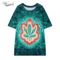 2016 Summer Plus Size T Shirt Green Printed Maple Leaf Long Tee Tops Harajuku American Apparel