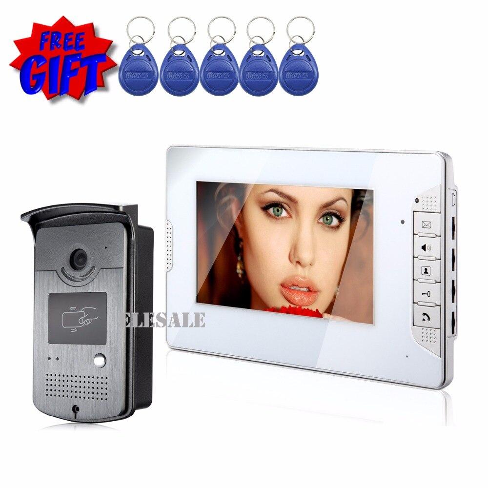 7 Wired Video Door Phone Intercom Doorbell Access Control System 700TVL Camera Night Vision Color Monitor 7 RFID Tags Keyfobs