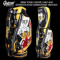 Cheers!! Beer Festive Golf Standard Bag PU Leather Golf Tour Staff Bag Embroidery Design 5 way For Men Women