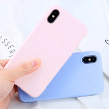 Solid Color Phone Case For iPhone 7 6 6s 8 X Plus 5 5s SE XR XS Max Silicone Ultrathin Soft TPU Case Candy Color Back Cover цена и фото