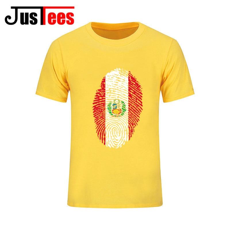 Cheapest Hot Selling Homewear O Neck Cotton Peru Flag Fingerprint T Shirt Men Men s Personality