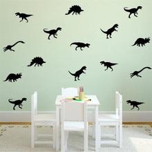 18pcs=1set Black Dinosaur vinyl Wall Sticker DIY Decal Children Room Removable Decorative Stickers For Kids Bedroom