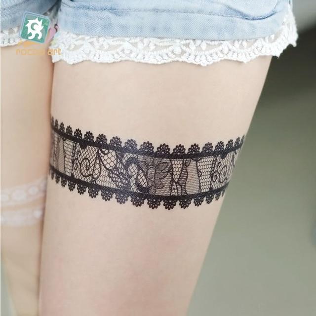 10 sztuk/zestaw czarne koronki Flash Tribal biały tatuaż moda wklej sztuczny tatuaż naklejki dziewczyny na ciało ręcznie Choker 14.8*21CM