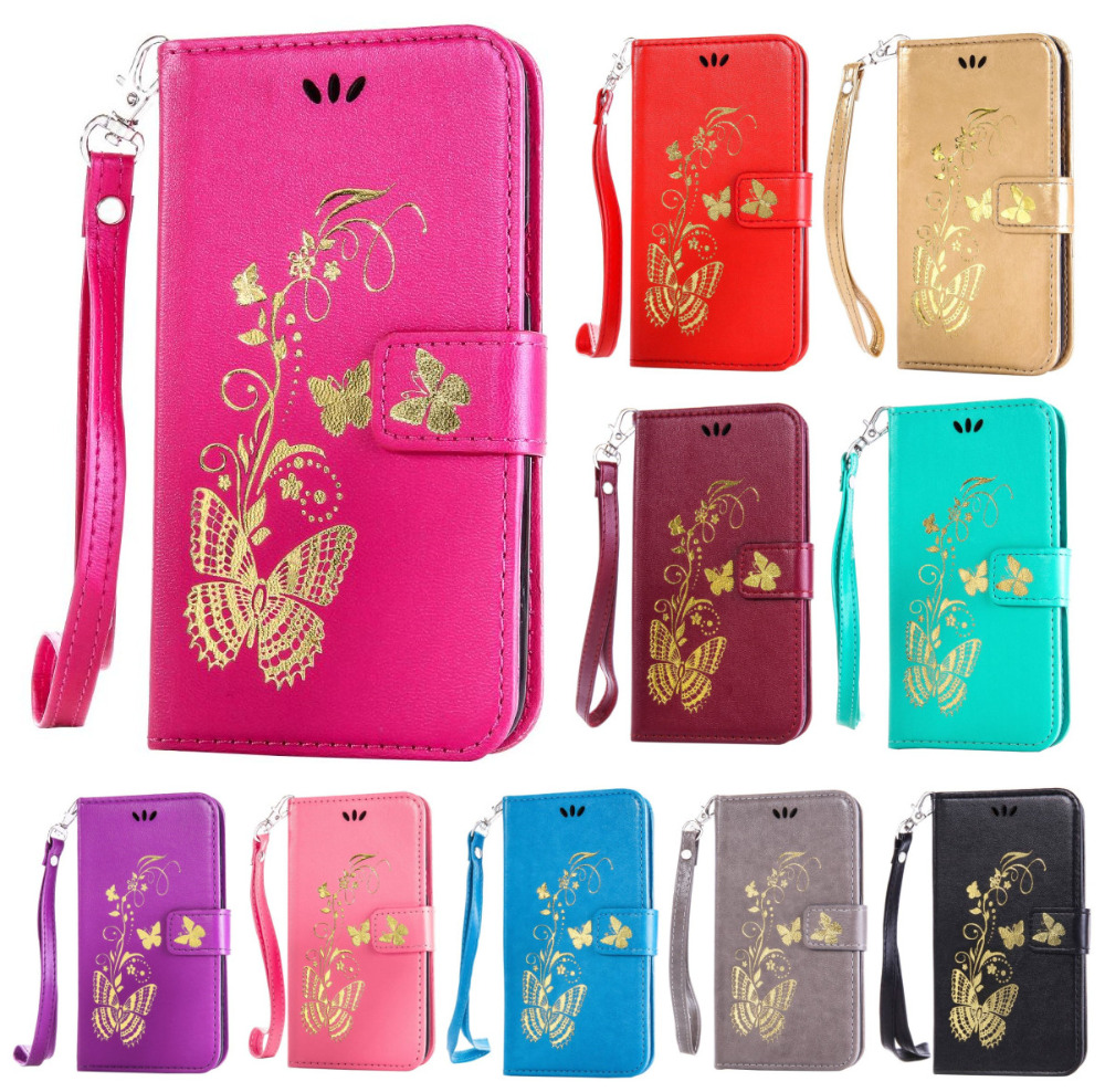 Golden Butterfly Wallet Flip Case For Sony Xperia Z2 Z3 Z4 Z5 mini Compact M2 M4 M5 Aqua ...