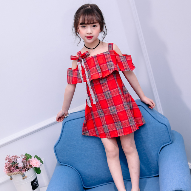 838e95463c2404 summer new fashion 4-12 years old girls off-the-shoulder dresses child  bowknot dress children plaid clothes baby clothing