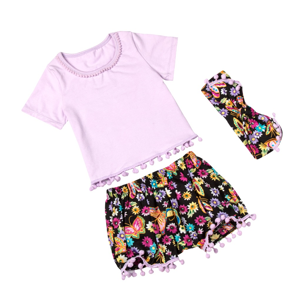 Shirt design for baby girl - Aliexpress Com Buy 2016 New Designs Boutique Clothing Set Baby Girls Clothes Set Summer Pompom T Shirt Short Pant Headband Boutique Clothing Set From