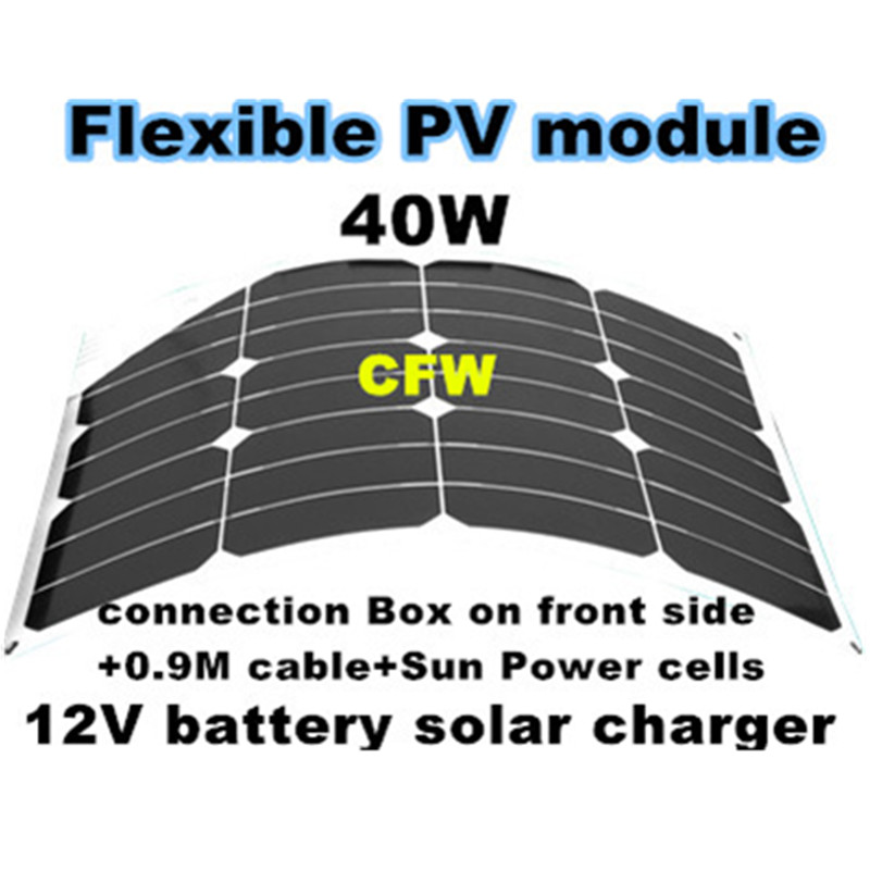 ФОТО Promotion marine solar panel 40Watts, with 0.9M wire and MC4 connectors, white color of back side, suitable for 12V system.