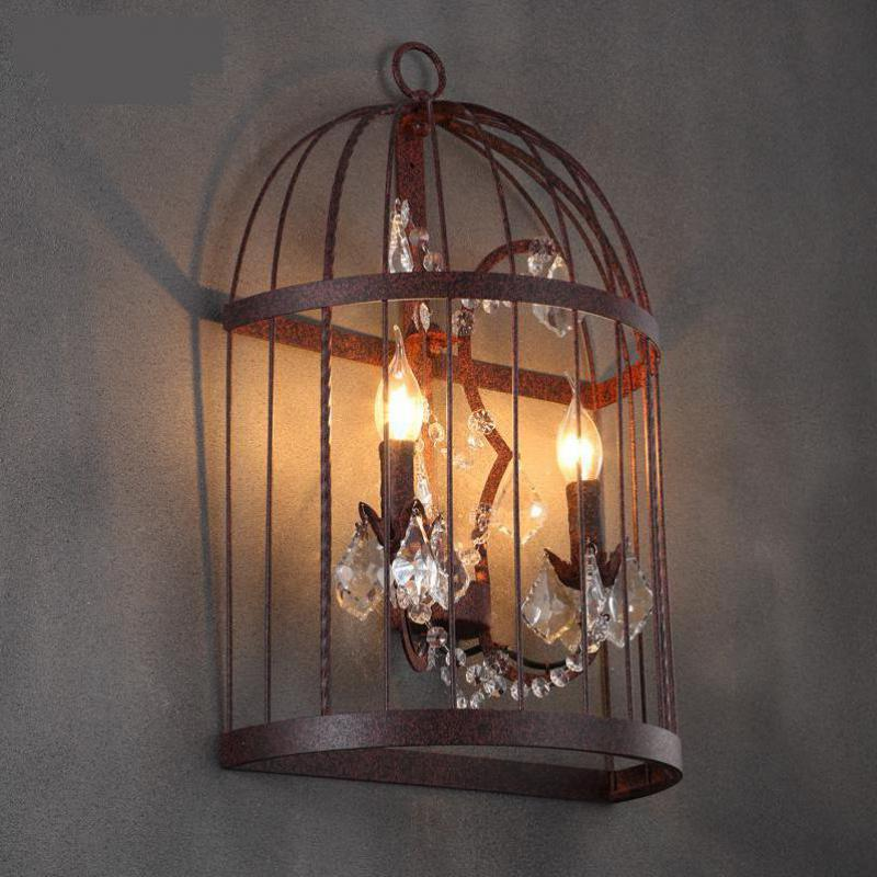 Cafe Rustic Iron Bird cage wall Lamp sconce vintage Art studio cage Lamp Bar Retro Industrial wall lights Banheiro 2 Led candle майка борцовка print bar luke cage