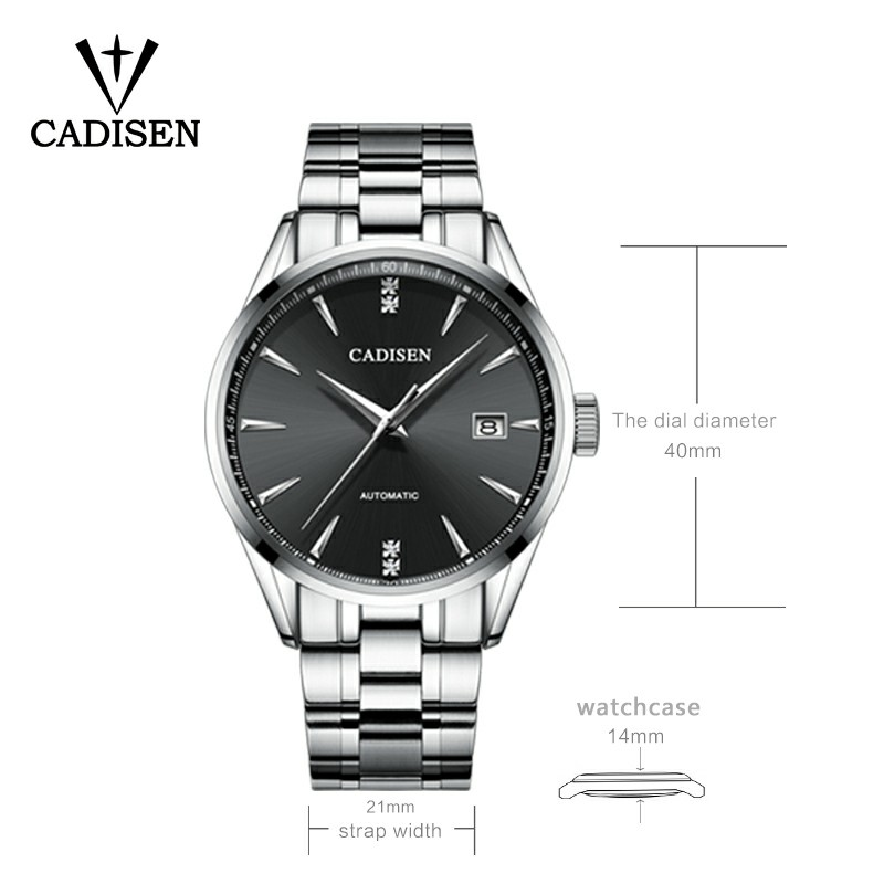 Genuine Luxury CADISEN Brand Men full steel automatic mechanical male self-wind 50M waterproof cruve surface ultrathin watch