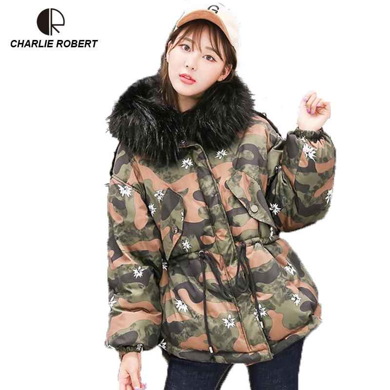CR New Winter Jacket Women Down Casual Fur Winter Coats Plus Size Hooded Parka Coat Womens Jackets WC1641