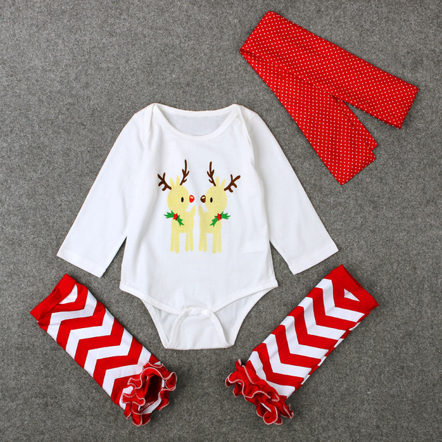 Long Sleeve Climb Clothes Socks Headband Festival Gifts New Born Clothing Conjunto Infantil New Christmas Deer Baby Bodysuits