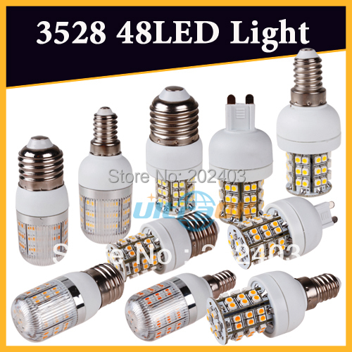 G9/E27/E14 220V/110V 3W 3528 SMD 48 LED Cool / Warm White Corn Light Bulb without Cover