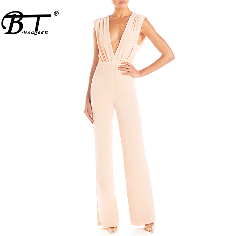 Beateen 2019 New Fashion Two Colors Ruched Sleeveless Backless Plunge Deep V Neck Wide Leg Pants Sexy Women Party Jumpsuit