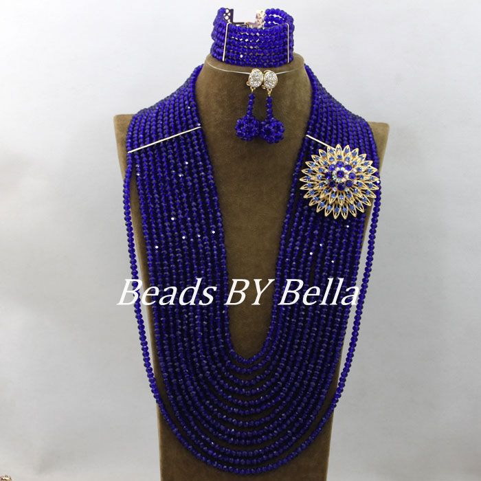 Marvelous Long African Beads Jewelry Set Bridal Jewelry Sets Royal Blue Crystal Beads African Jewelry Set Free Shipping ABF040Marvelous Long African Beads Jewelry Set Bridal Jewelry Sets Royal Blue Crystal Beads African Jewelry Set Free Shipping ABF040