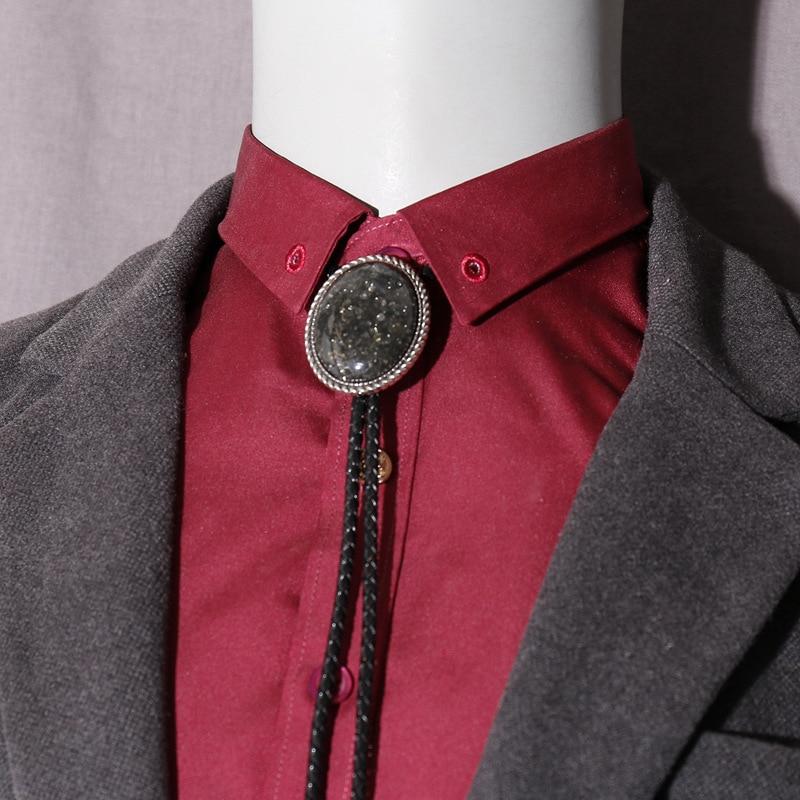 Brand Cowboy American India Style Bolo Ties for Men Big Grey Rhinestone Suits Tie Western Cowboy Male Alloy Bolo Ties 2018