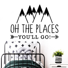 Creative the places you will go Wall Sticker Pvc Removable For Kids Rooms Home Decor Decoration Accessories