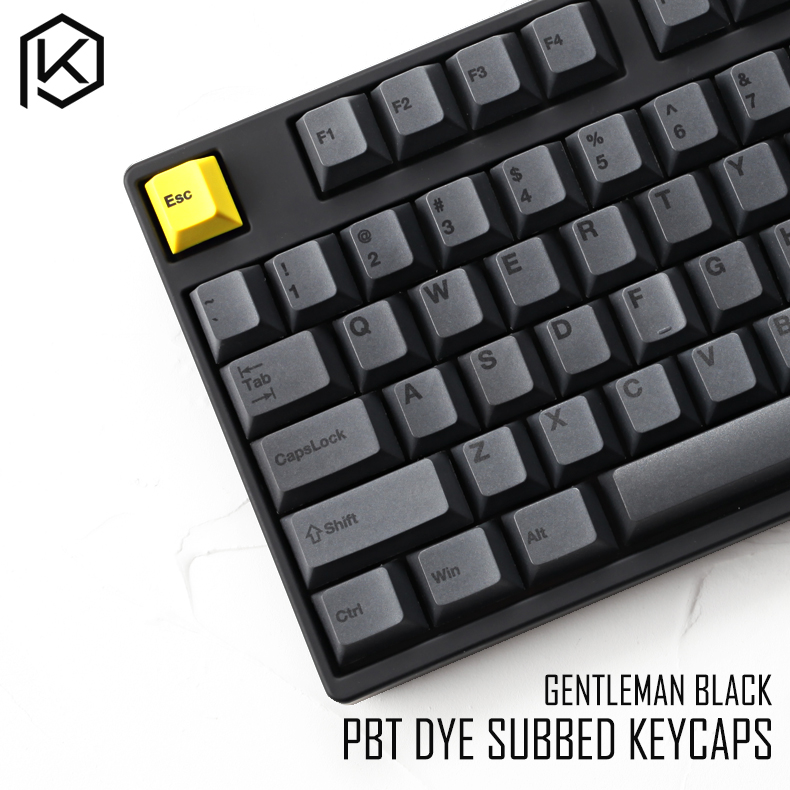 Cherry Profile Dye Sub Keycap Set Thick PBT Plastic Black Yellow Gentleman For Gh60 Xd64 Xd84 Xd96 Tada68 87 104 Razer Corsair