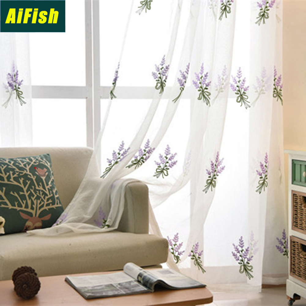 Lavender Sheer Curtains Rustic Embroidered Purple Lavender Flower White Curtain Tulle For Bedroom Floral Sheer Voile Draperies For Living Room Wp2582