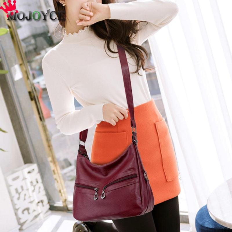 MOJOYCE Vintage Female Bag Women Hobos Handbags Zipper Soft PU Leather Shoulder Crossbody Bag Office Ladies Bag Solid Color Tote 5