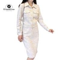 Женский комплект из 2 предметов твидовая куртка и Юбка До Колена женские элегантные юбки комплекты высокого качества Женский костюм