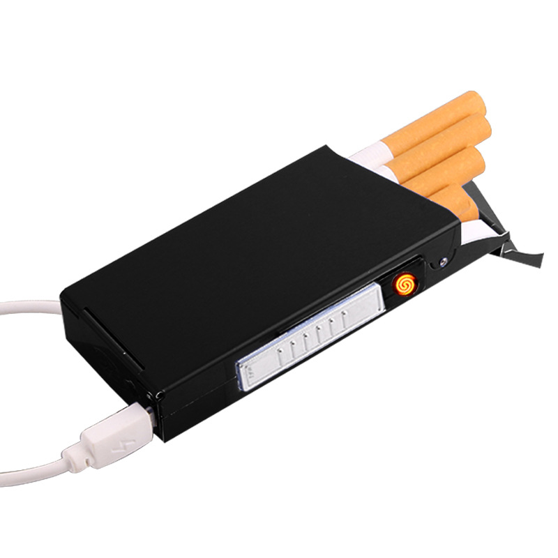 Portasigarette Con USB Elettronico Più Leggero Metallo Portatile Super Sottile Caso Titolare di Sigarette Senza Fiamma Sigaretta più leggera